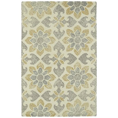 Rosalind Hand-Tufted Gray/Yellow Area Rug Rug Size: 2 x 3