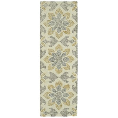 Rosalind Hand-Tufted Wool Gray/Yellow Area Rug Rug Size: Runner 26 x 8