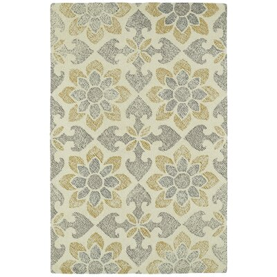 Rosalind Hand-Tufted Wool Gray/Yellow Area Rug Rug Size: Rectangle 36 x 56