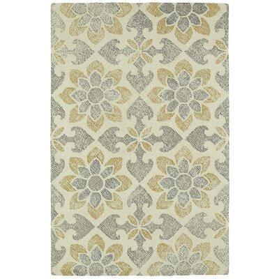 Rosalind Hand-Tufted Wool Gray/Yellow Area Rug Rug Size: Rectangle 5 x 9