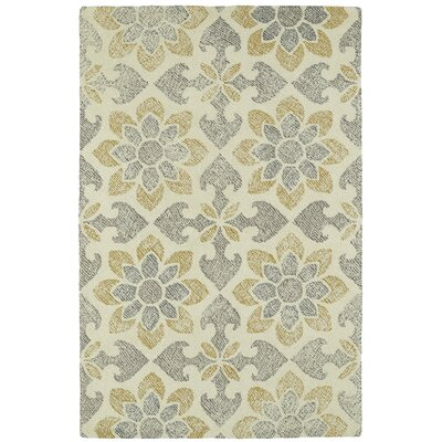 Rosalind Hand-Tufted Wool Gray/Yellow Area Rug Rug Size: Rectangle 8 x 10