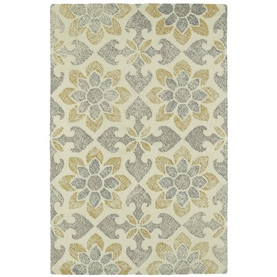 Rosalind Hand-Tufted Gray/Yellow Area Rug Rug Size: 9 x 12