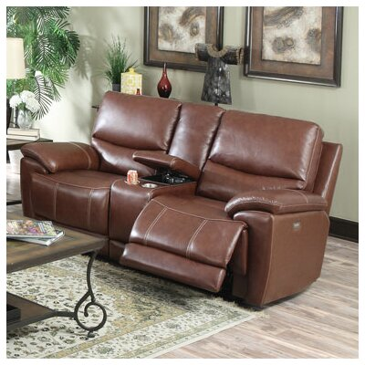 Darby Home Co DBHC2111 25715405 Console Top Leather Reclining Loveseat