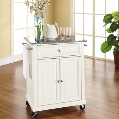 Detweiler Solid Granite Top Portable Kitchen Cart/Island Base Finish: White