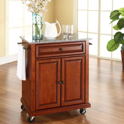 Detweiler Solid Granite Top Portable Kitchen Cart/Island Base Finish: Classic Cherry