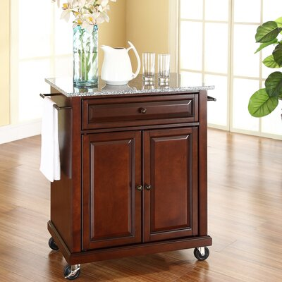 Detweiler Solid Granite Top Portable Kitchen Cart/Island Base Finish: Vintage Mahogany