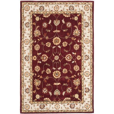 Hausmann Hand-Hooked Red/Ivory Area Rug Rug Size: Rectangle 4 x 6