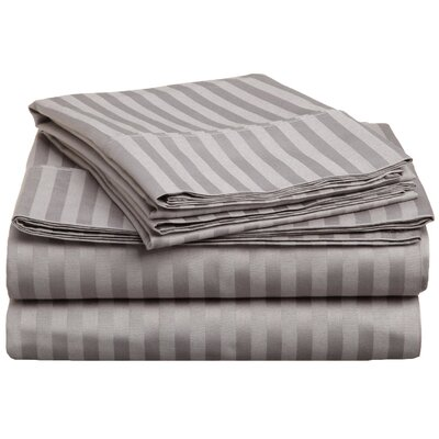 Rieger 300 Thread Count Premium Long-Staple Combed Cotton Stripe Waterbed Queen Sheet Set Color: Grey