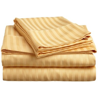 Rieger 300 Thread Count Premium Long-Staple Combed Cotton Stripe Waterbed Queen Sheet Set Color: Gold