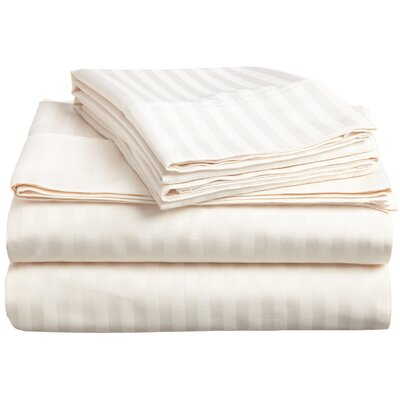 Rieger 300 Thread Count Premium Long-Staple Combed Cotton Stripe Waterbed Queen Sheet Set Color: Ivory
