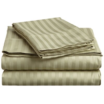 Rieger 300 Thread Count Premium Long-Staple Combed Cotton Stripe Waterbed Queen Sheet Set Color: Sage