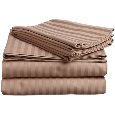 Rieger 300 Thread Count Premium Long-Staple Combed Cotton Stripe Waterbed Queen Sheet Set Color: Taupe
