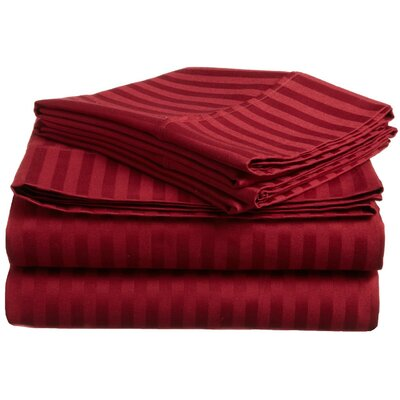 Rieger 300 Thread Count Premium Long-Staple Combed Cotton Stripe Waterbed Queen Sheet Set Color: Burgundy