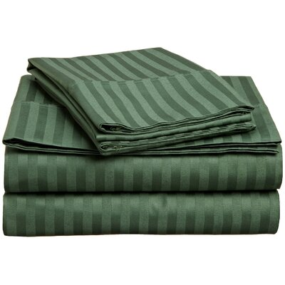 Rieger 300 Thread Count Premium Long-Staple Combed Cotton Stripe Waterbed Queen Sheet Set Color: Hunter Green