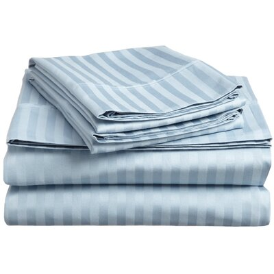 Rieger 300 Thread Count Premium Long-Staple Combed Cotton Stripe Waterbed Queen Sheet Set Color: Light Blue