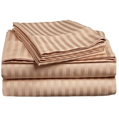Rieger 300 Thread Count Premium Long-Staple Combed Cotton Stripe Waterbed Queen Sheet Set Color: Beige