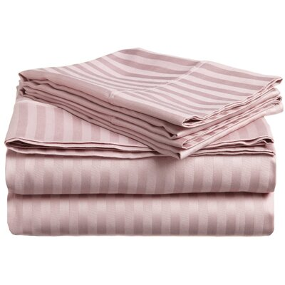 Rieger 300 Thread Count Premium Long-Staple Combed Cotton Stripe Waterbed Queen Sheet Set Color: Lavender