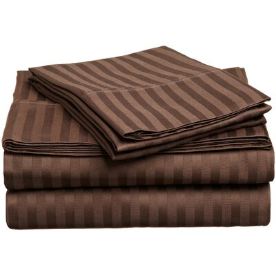 Rieger 300 Thread Count Premium Long-Staple Combed Cotton Stripe Waterbed Queen Sheet Set Color: Mocha