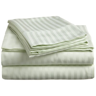 Nordberg 300 Thread Count Egyptian-Quality Cotton Stripe Olympic Queen Sheet Set Color: Mint