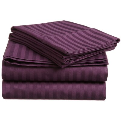 Nordberg 300 Thread Count Egyptian-Quality Cotton Stripe Olympic Queen Sheet Set Color: Plum