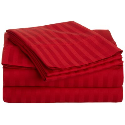 Rieger 300 Thread Count Premium Long-Staple Combed Cotton Stripe Waterbed Queen Sheet Set Color: Red