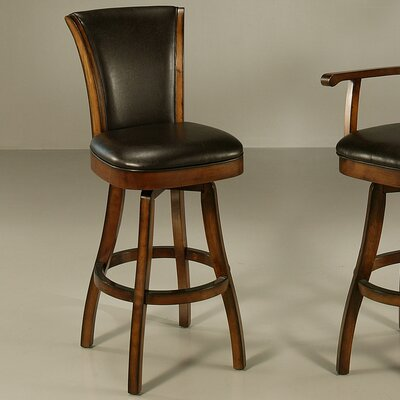 Aitken 26 Swivel Bar Stool Finish: Russet Cordovan, Upholstery: Brown Leather