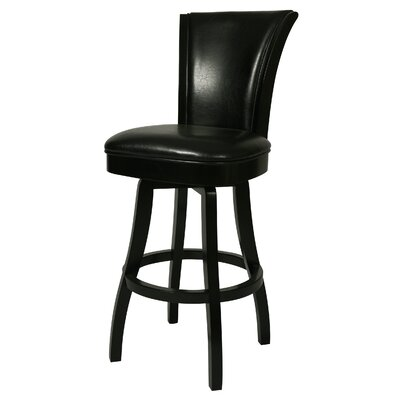 Glenwood 26 Swivel Bar Stool Finish: Feher Black, Upholstery: Black Leather