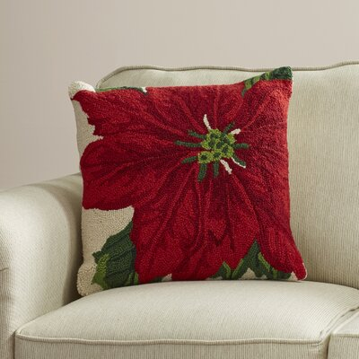Chingford Poinsettia Wool Throw Pillow Size: 18 W x 18 H