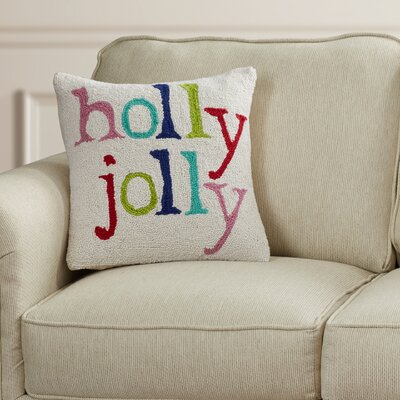 Holly Jolly Holiday Hook Wool Throw Pillow