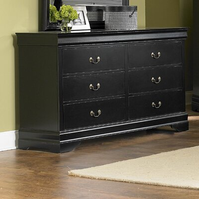 Bader 6 Drawer Double Dresser Finish: Black