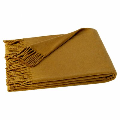 Layman Cotton and Soft Acrylic Solid Throw Color: Camel Brown