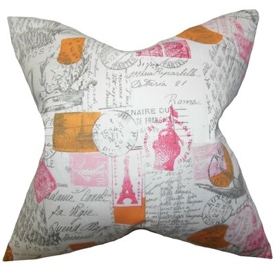 Ginsberg Typography Cotton Throw Pillow Cover Color: Pink