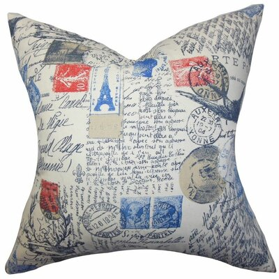 Ginsberg Typography Cotton Throw Pillow Color: Primary, Size: 18x18