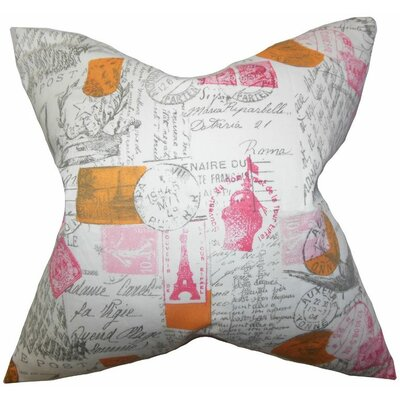 Ginsberg Typography Cotton Throw Pillow Color: Sherbet, Size: 18x18