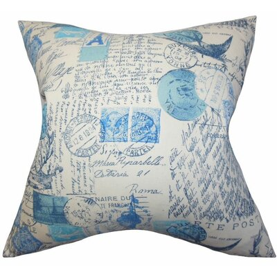 Ginsberg Typography Cotton Throw Pillow Color: Arctic Blue, Size: 18x18