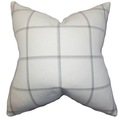 Temples Plaid Cotton Throw Pillow Color: Linen, Size: 18x18