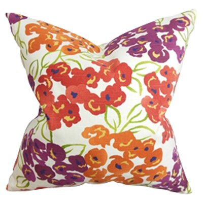 Standridge Floral Cotton Throw Pillow Color: Poppy, Size: 18x18