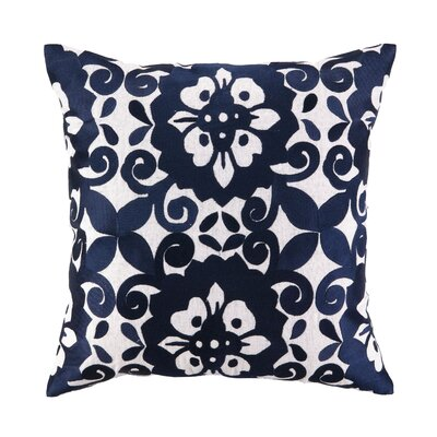 Kerrigan Embroidered Linen Throw Pillow Color: Blue