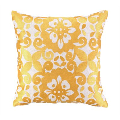 Kerrigan Embroidered Linen Throw Pillow Color: Gold