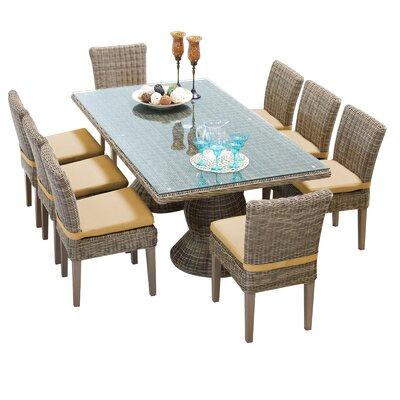 Darby Home Co Kuhns 9 Piece Dinning Set with Cushions Fabric: Sesame
