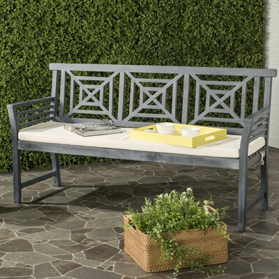 Garrity 3 Seat Acacia and Polyester Garden Bench Finish: Ash Gray/Beige