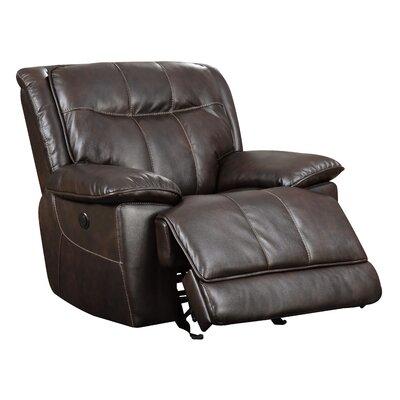 Reinhart Power Recliner Type: Power, Upholstery: Brown