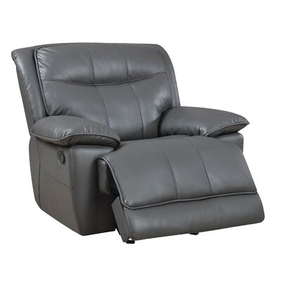 Reinhart Recliner Type: Manual, Upholstery: Brown