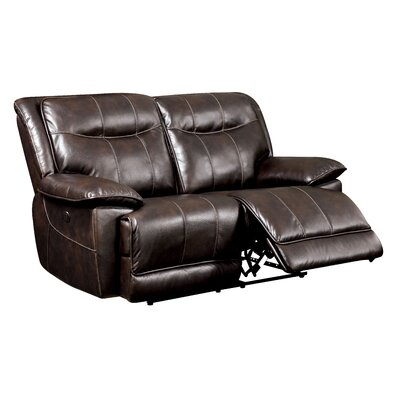 Reinhart Leather Reclining Loveseat Type: Power, Upholstery: Brown