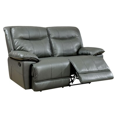 Reinhart Leather Reclining Loveseat Type: Manual, Upholstery: Brown