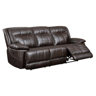 Reinhart Leather Reclining Sofa Type: Manual, Upholstery: Brown