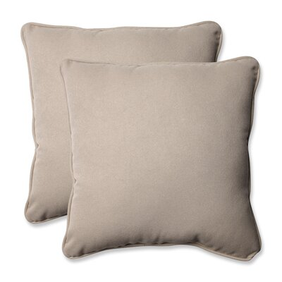 Alsip Outdoor Throw Pillow Color: Beige Solid