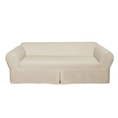 Box Cushion Sofa Slipcover Upholstery: Natural