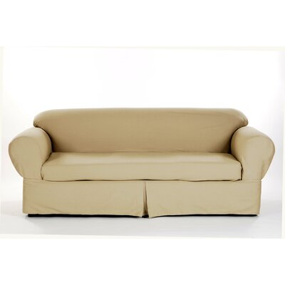 Box Cushion Sofa Slipcover Upholstery: Khaki