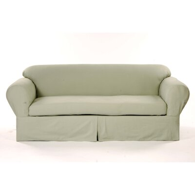 Box Cushion Sofa Slipcover Upholstery: Green